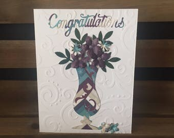 Elegant Retirement Congratulations Card, Die Cut Mosaic Look Vase of Flowers, Purple and Teal Flowers, Gemstone Centers