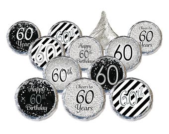 60th Birthday Party Favors Black Silver Decorations Stickers Supplies Set of 324
