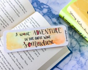 Aquarel bookmark - 'I want adventure'