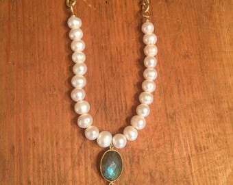 Labradorite Pearl Necklace