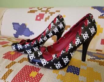 Black and White Skull heels with Ruby Ribbon - Size 10