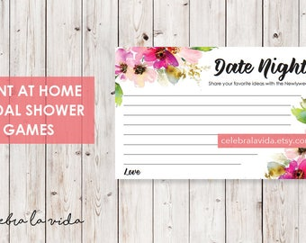 Date Night Ideas. Bridal Shower Game. Instant Download. Printable Bridal Shower Game. Pink Flowers. Pink - 01