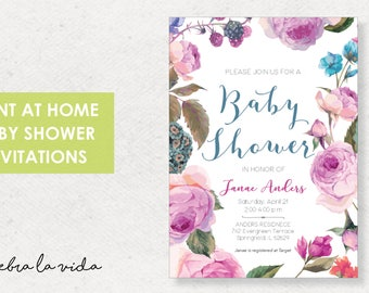 Baby Shower Invitation. Instant Download. Printable Baby Shower Invite. Pink and Purple Flowers. - 01