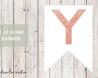 DIY Banner - 'Y'. Instant Download. Printable Banner Letters. Pink Glitter. - 01
