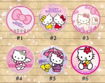 Hello Kitty cupcake topper- round labels- DIY kitty cat happy birthday party decoration - digital file YOU PRINT