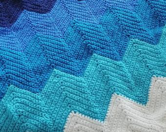 Ombre Chevron Baby Blanket Crochet