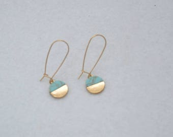 Turquoise and gold circle drop earrings