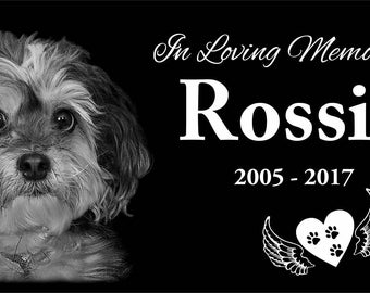 """12x6"""" Custom Tombstone Laser Engraved with your dog/pet picture, graver marker, pet stone, dog headstone, laser engraved"""