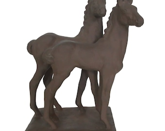 "Sculpture ""Two foals"" by else Bach for majolica Karlsruhe - 1930s, 1940s"