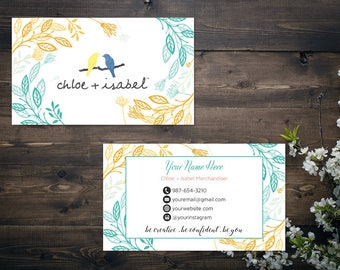 PERSONALIZED Chloe and Isabel Business Card, Custom Chloe and Isabel Card, Fast Free Personalization, Printable Business Card CL09
