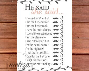 He Said She Said Game, Bridal Shower Game, Bachelorette Party Game, Printable Bridal Shower Game, Guess Who Said It Shower Game, Shower Game