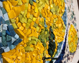 Mosaic wall art,mosaic still life,farmhouse mosaic,kitchen mosaic decor,yellow blue mosaic,mosaic wall decor,vibrant colorful lemons