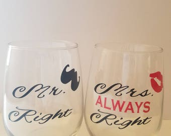 Wine Glasses for Mr. & Mrs.