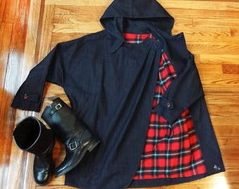 Vintage Style Pleated Denim Hooded Parka W/Red Plaid Liner & Chinstrap