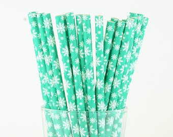 Green Snowflake Paper Straws, Christmas Straws, Holiday Straws, Party Decor, Cake Pop Sticks, Party Supplies, Mason Jar Straws