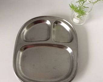 Stainless Steel Divided Plate | USA | Vintage