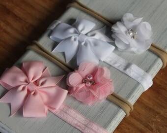 Bow & Flower Headband Set