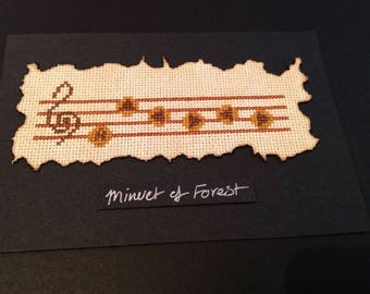 Framed Zelda cross stitch, Minuet of Forest.