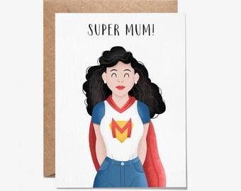 Super Mum! - Greeting Card - Mothers Day Card - Birthday Card - Mum - Stationery - Folio - thisisfolio