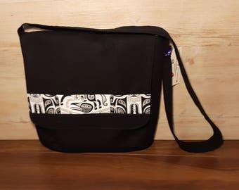 Native Print Messenger Bag, Reversible, Crossbody Bag, Shoulder Bag, Flap Bag, First Nations, Aboriginal, Unique, handmade, homeade