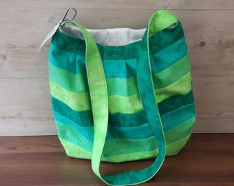 It ain't easy being green! Handmade, womans shoulder bag, gift, womens crossbody, yoga, gym, school, pleated, home made, gift, book bag