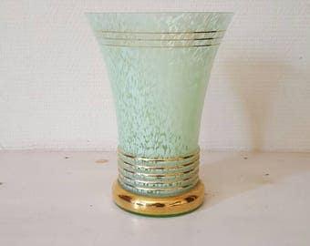 Green Clichy opaline vase