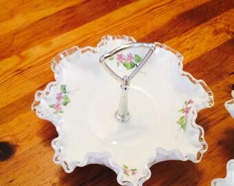 Fenton Silvercrest Violets in the Snow Bon Bon Milk Glass Art Candy Dish Pansy Flower Vintage Mid Century 1970's
