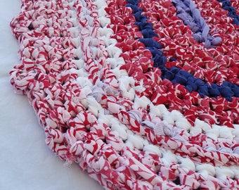 """Handmade crochet rag rug, red white navy lavender, 47""""x20"""" oblong"""