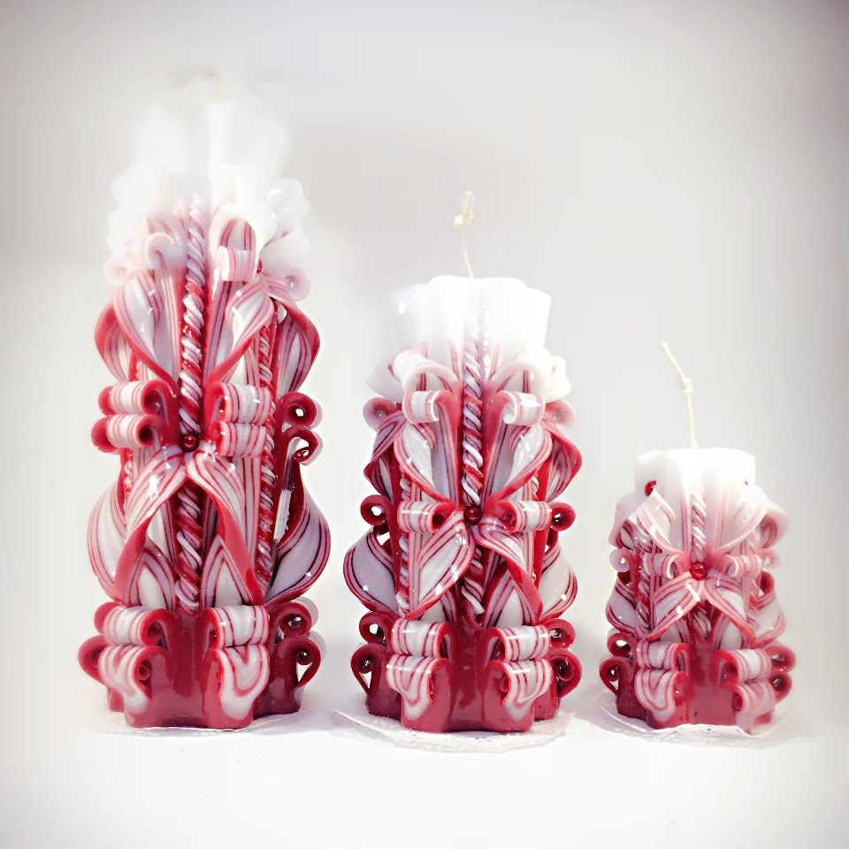 Red white big candle Carved candle best gift best candlehandmade