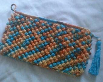 Colorful Popcorn Crochet Pouch Blue Tassel