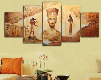 Handmade 5 Piece Egyptian Oil Painting On Canvas Wall Art
