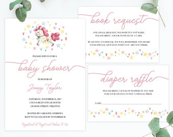 Unique Baby Shower Invitations for Girls Instant Download Unicorn Baby Shower Invitation Set Girl Personalized Baby Shower Invites Pink SS1