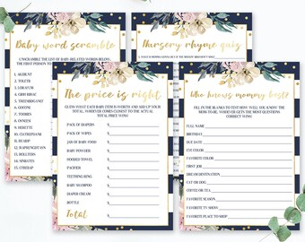 Watercolor Flowers Baby Shower Games Package Printable Baby Shower Games Bundle, The Price is Right, Who Knows Mommy Best Game PDF  of 4 GF1