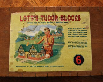 Lott's Tudor Blocks Set 6 Stone Bricks Rare Wooden Box 1940's/50's