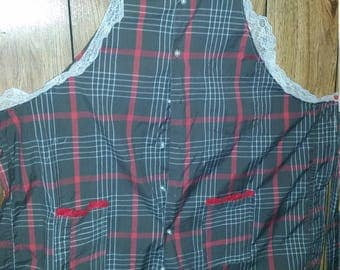 Button-Up Shirt Apron/ Repurposed Men's Shirt/Apron/Hand Made