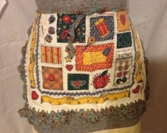 Crochet towel apron. Little Helper Apron. Holiday baking/ holiday gift/ school smock/school apron/gift/girl gift/crocheted
