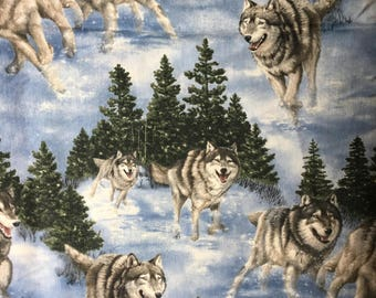 Cranston Village / 100% Cotton Quilting Fabric /Husky Arctic Scene /Dogs Pine Trees and Snow in Backgound /Sold by the Yard