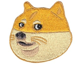 Doge Motif Iron-On Applique Embroidered Patch