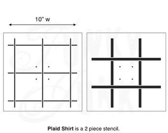 Funky Junk Stencil - Plaid Shirt - Furniture or Wall Stencil