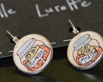 "resin Earring ""monsters are really well kept..."""