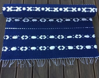 Blue and white cotton floor runner, Scandinavian design rug, 80 x 152 cm, Scandinavian floor runner, washable, handwoven, ready to ship