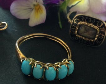 Antique victorian turquoise and 14 k gold ring. Gold and turquoise of the 19th century ring.