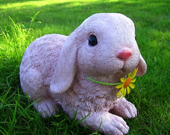 Cute Colorful Animal  Rabbit with a metal Flower,Garden&Home Decoration Display LG170263