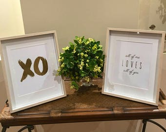 XO & all of me loves all of you print set