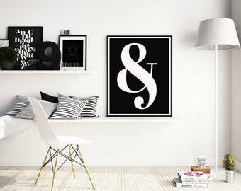 Ampersand, Typography, Black&White Wall Art, Living room decor, Photography, Scandinavian design , Nordic