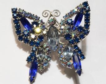 Gorgeous Blue Rhinestone Butterfly in Juliana Style