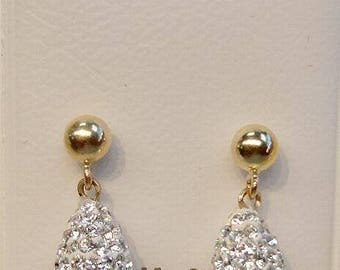 New 14k Solid Gold Crystal Briolette Earrings in Dias.-Free Shipping!