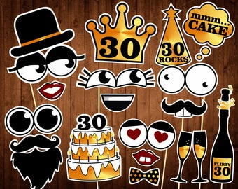 30th Birthday Photo Booth Props - INSTANT DOWNLOAD - Printable PDF - Thirtieth Birthday Party Photo Booth Supplies - Dirty Thirty