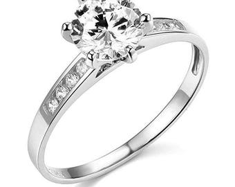 Russian Simulated Diamond 14K White Gold Engagement Ring