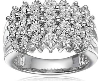 Sterling Silver Diamond Engagement Ring (1/2 cttw, I-J Color, I2-I3 Clarity), Size 7